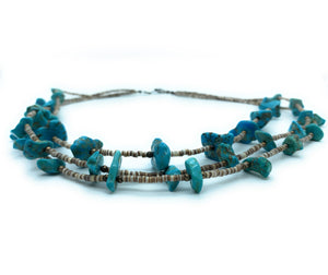 Vintage Old Pawn 3-Strand Kingman Turquoise & Penshell Heishi Bead Necklace