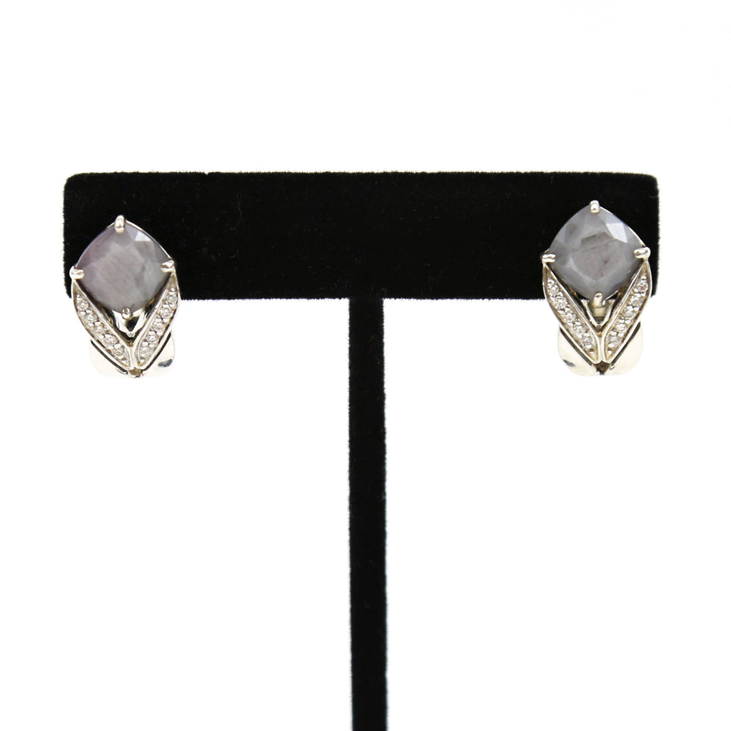 John Hardy Sterling Silver Earrings with Diamonds and Gray Jade