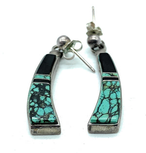 Vintage 1970's Zuni Sterling Silver & Multi Stone Inlay 3-piece Jewelry Set