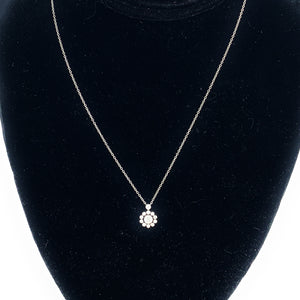 Authentic TIFFANY Platinum and Diamond Enchant Flower Pendant Necklace Earring Set