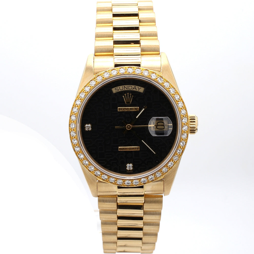 ROLEX 18K Gold Day-Date President Black Jubilee Dial, Diamond Bezel Watch