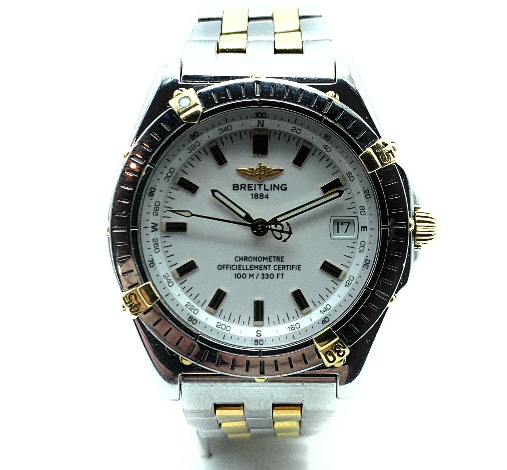 Breitling Two-Tone Wings Automatic White Dial Mens Watch