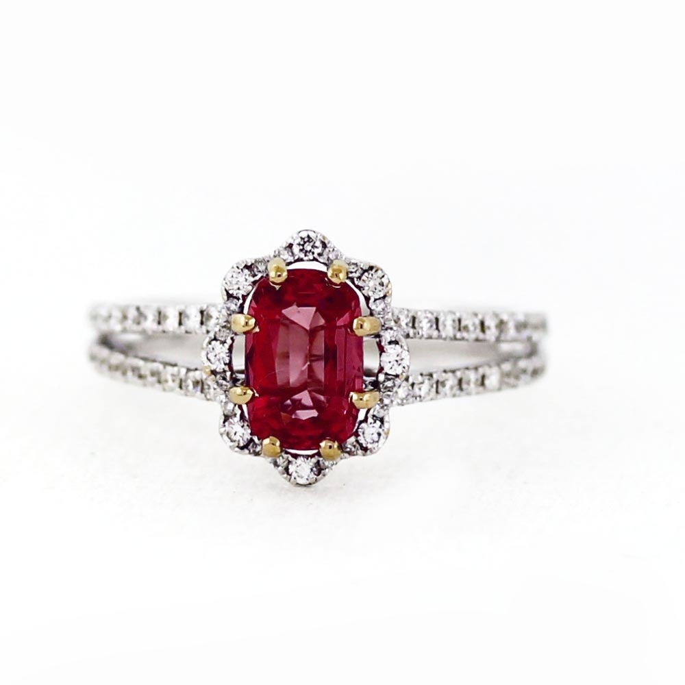 18K White Gold Pink 1.12ct Spinel & 0.40ctw Diamond Halo Engagement Ring - Sz. 6.5