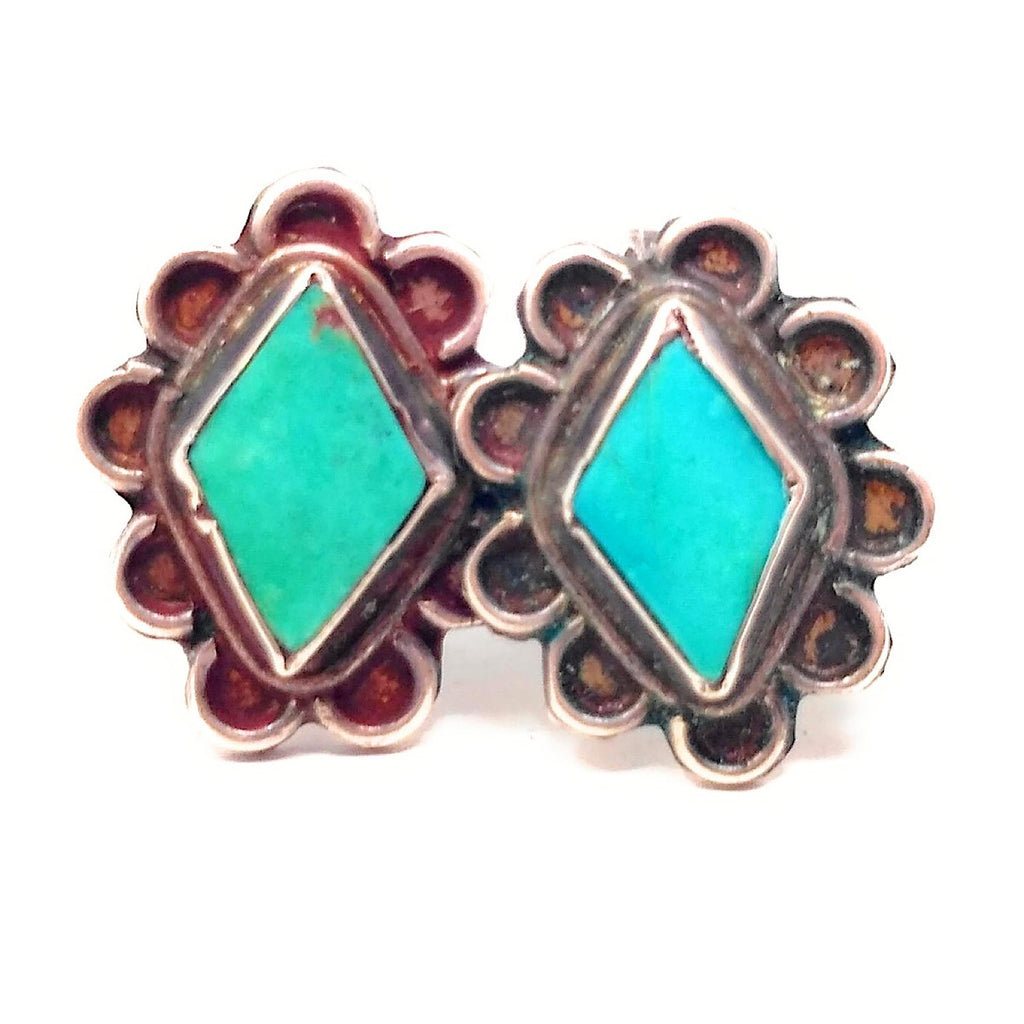 Vintage Turquoise Diamond Shaped Screw Back Earrings