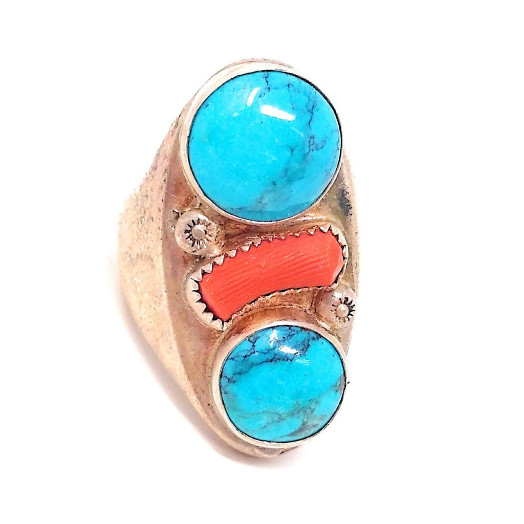 Large Flat Face Sterling Silver Turquoise and coral Ring sz 9 3/4""