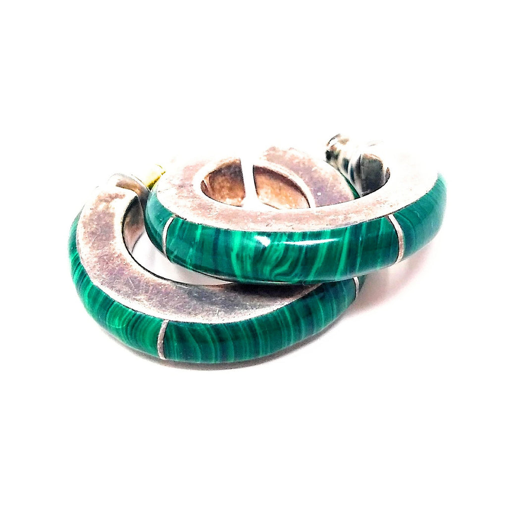 Mexican Platinum Malachite Earrings