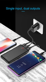 Baseus 10000mAh PowerBank + 2 Dual USB Port + kompatibel mit Samsung Galaxy, Huawei, iPhone, Tablet