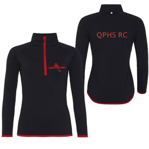 QPHS Rowing Club Women's 1/2 Zip Sweatshirt Black / Red
