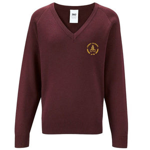 Abbey School V Neck Jumper Maroon (YR R - YR 11)