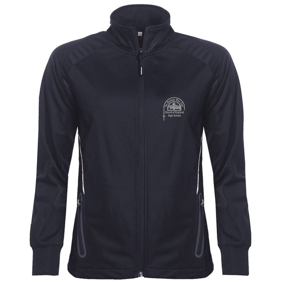 Bishop's High Girls PE Full Zip Training Top Navy / White