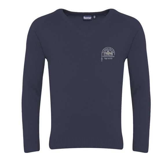 Bishop's High V Neck Jumper Navy