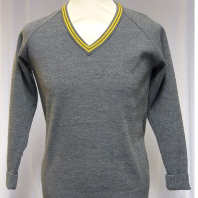 The Firs V Neck Jumper Grey / Gold Trim