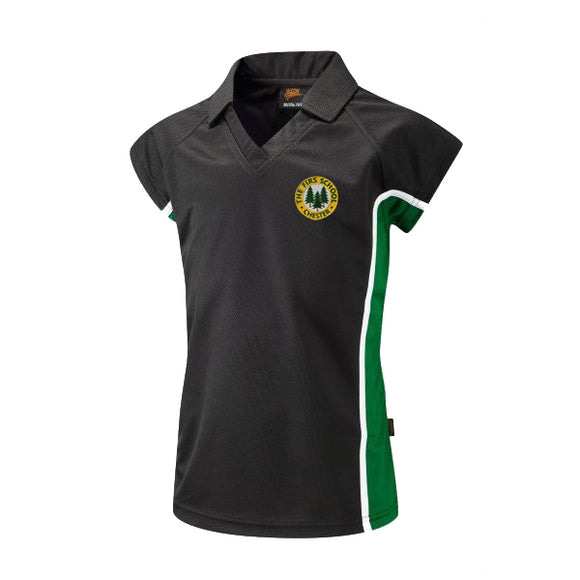 The Firs Girls Polo Black / Emerald / Yellow