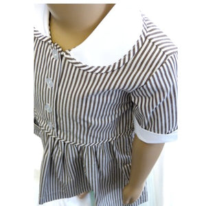 Striped Summer Dress Brown / White