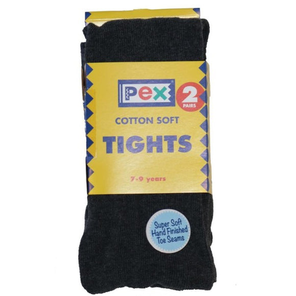 Cotton Soft Tights 2 Pack Charcoal