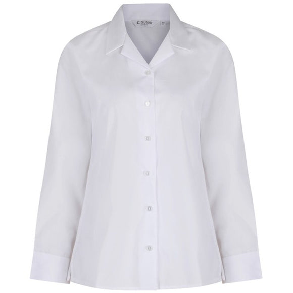 Long Sleeve Revere Collar Blouse (Twin Pack) White