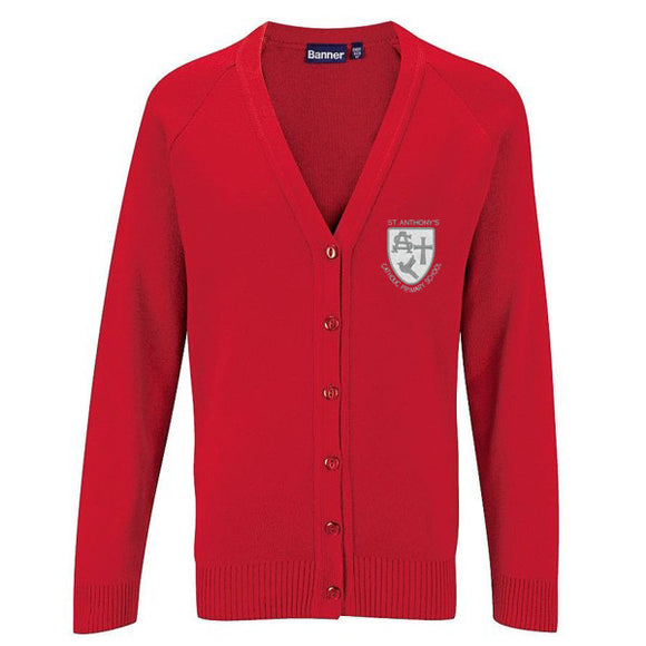 St Anthony's Knitted Cardigan Red