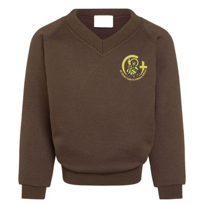 St Clare's V Neck Sweatshirt Brown