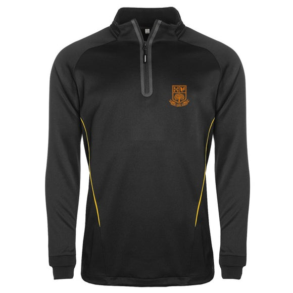 Tarporley High 1/4 Zip Top Black / Gold