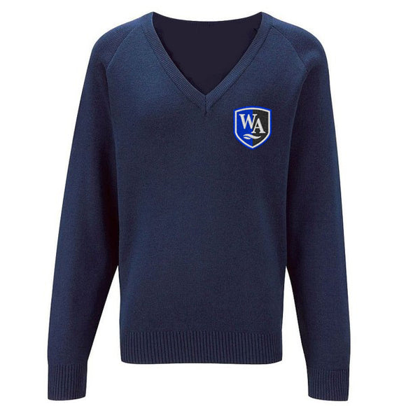 Weaverham Academy V Neck Knitted Sweater Navy