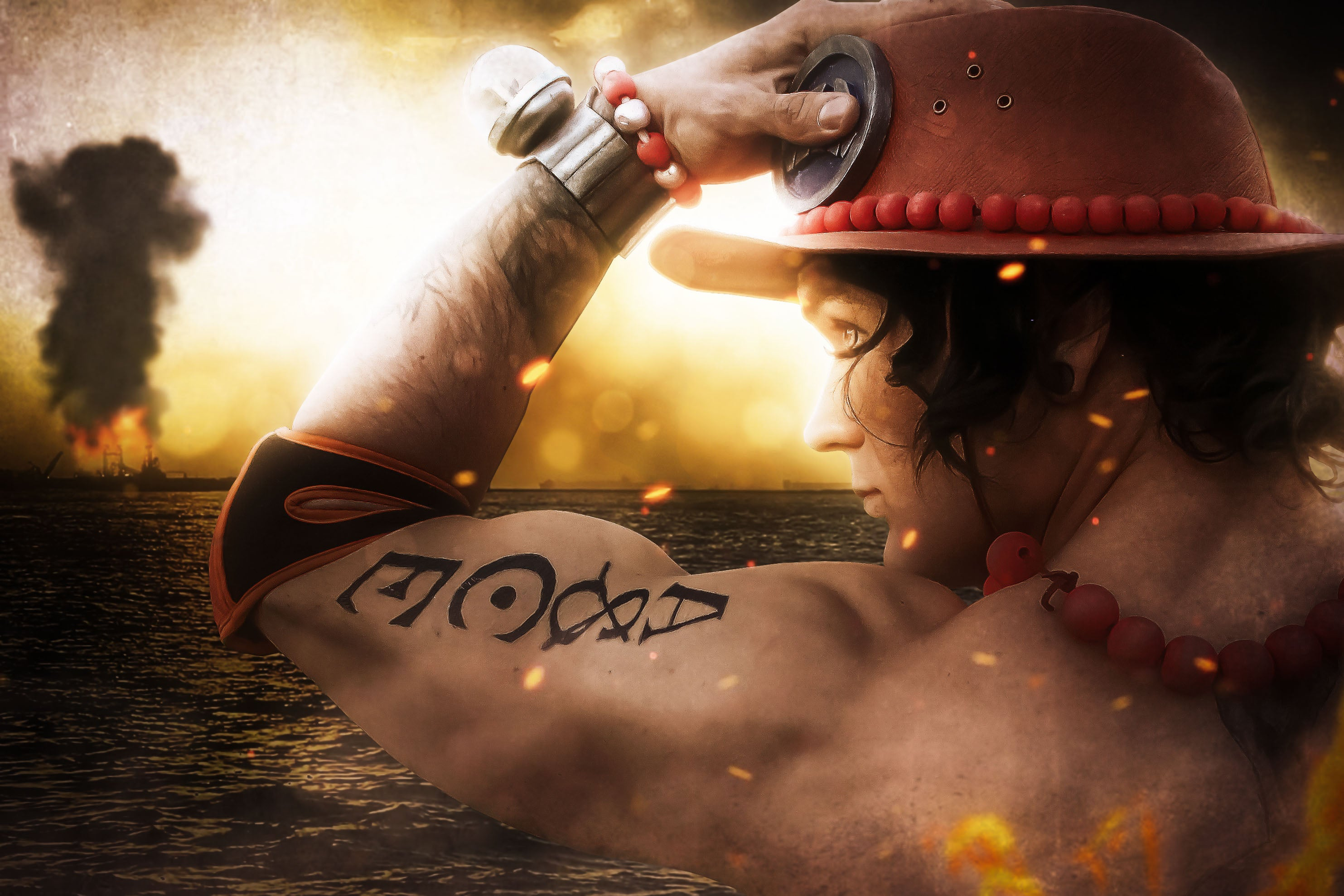 Firefist Ace cosplay from One Piece with ASCE tattoo