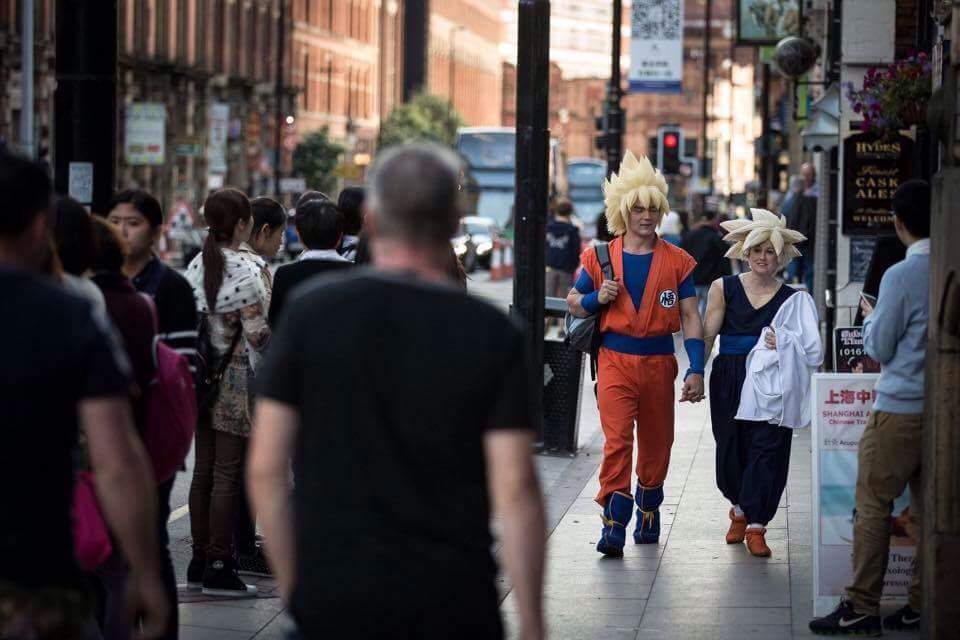 Goku and Gohan cosplays from DragonBall Z walking through Manchester for MCM Comic Con 2015