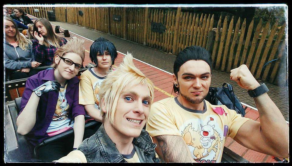 Moogle Chocobo Carnival Cosplay. Chocomog bros at Alton Towers featuring Prompto, Gladiolus, Noctis, and Ignis