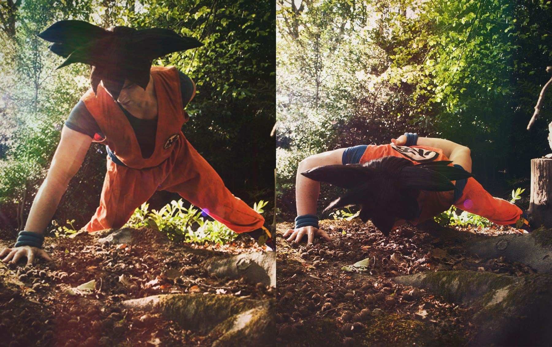 Son Goku cosplay from DragonBall Z one arm pushups