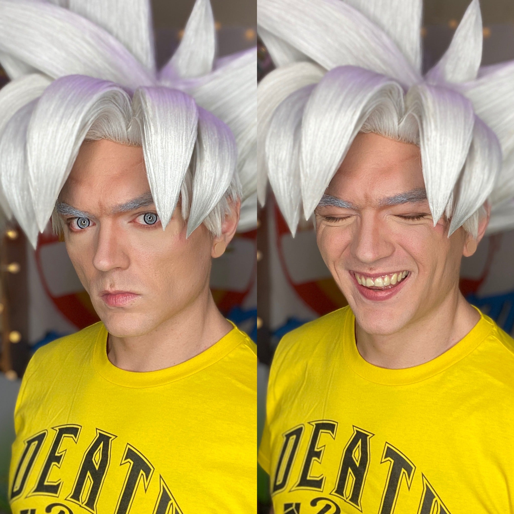 Ultra Instinct Goku cosplay from DragonBall Super breaking into a smile