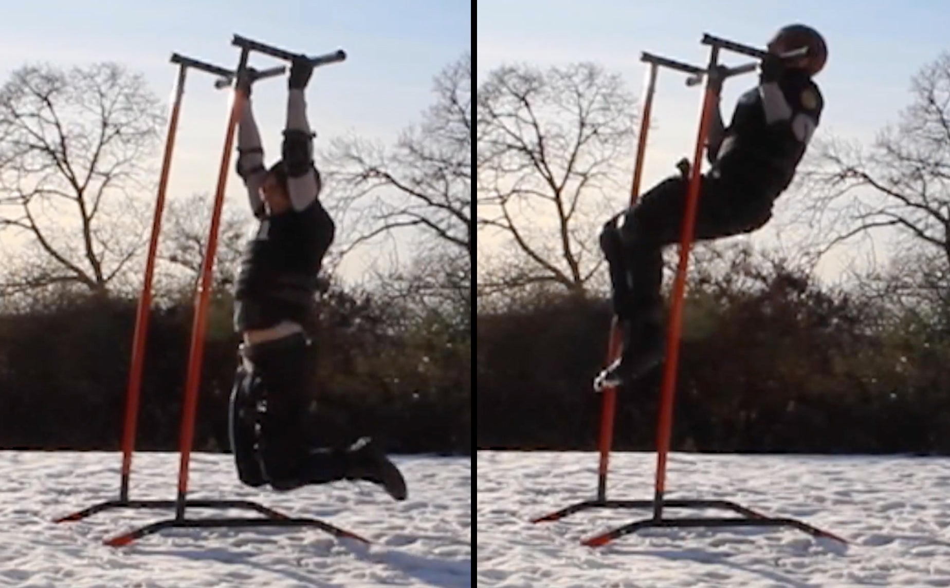 Leon S. Kennedy Resident Evil 2 Remake cosplay teaching the chin up in the snow for a raccoon city fitness workout
