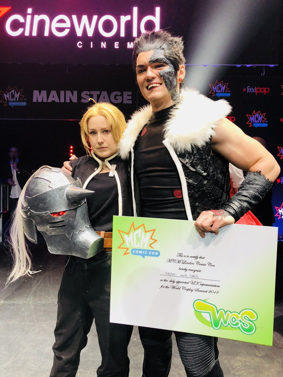 Fullmetal Alchemist Cosplayers win the united kingdom World Cosplay Summit Qualifiers in 2018 as Edward Elric and Greed