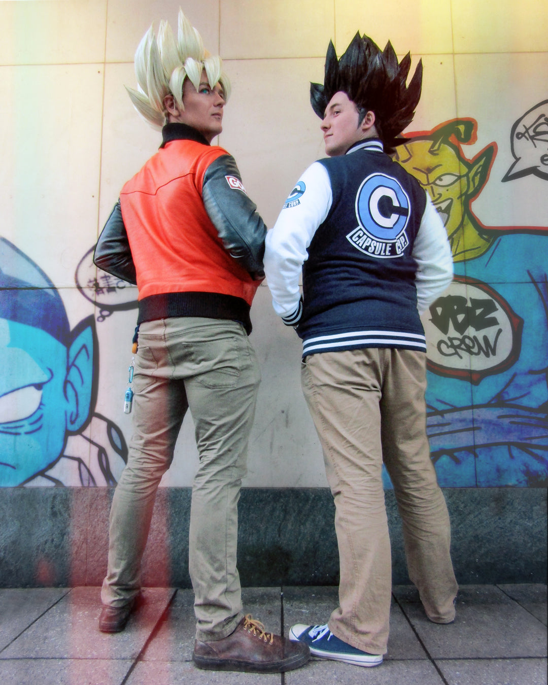Casual Goku and Vegeta Cosplay From DragonBall Z Wearing Their 59 And Capsule Corp Jackets
