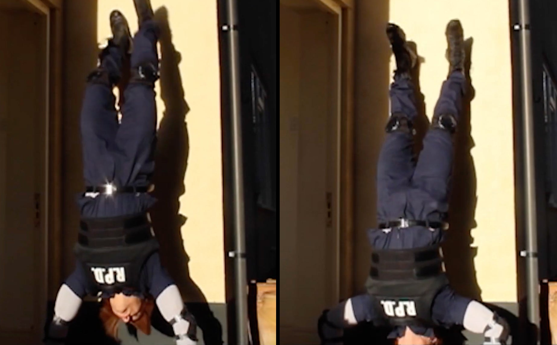 Leon S. Kennedy Resident Evil 2 Remake cosplay teaching the handstand push up for a raccoon city fitness workout