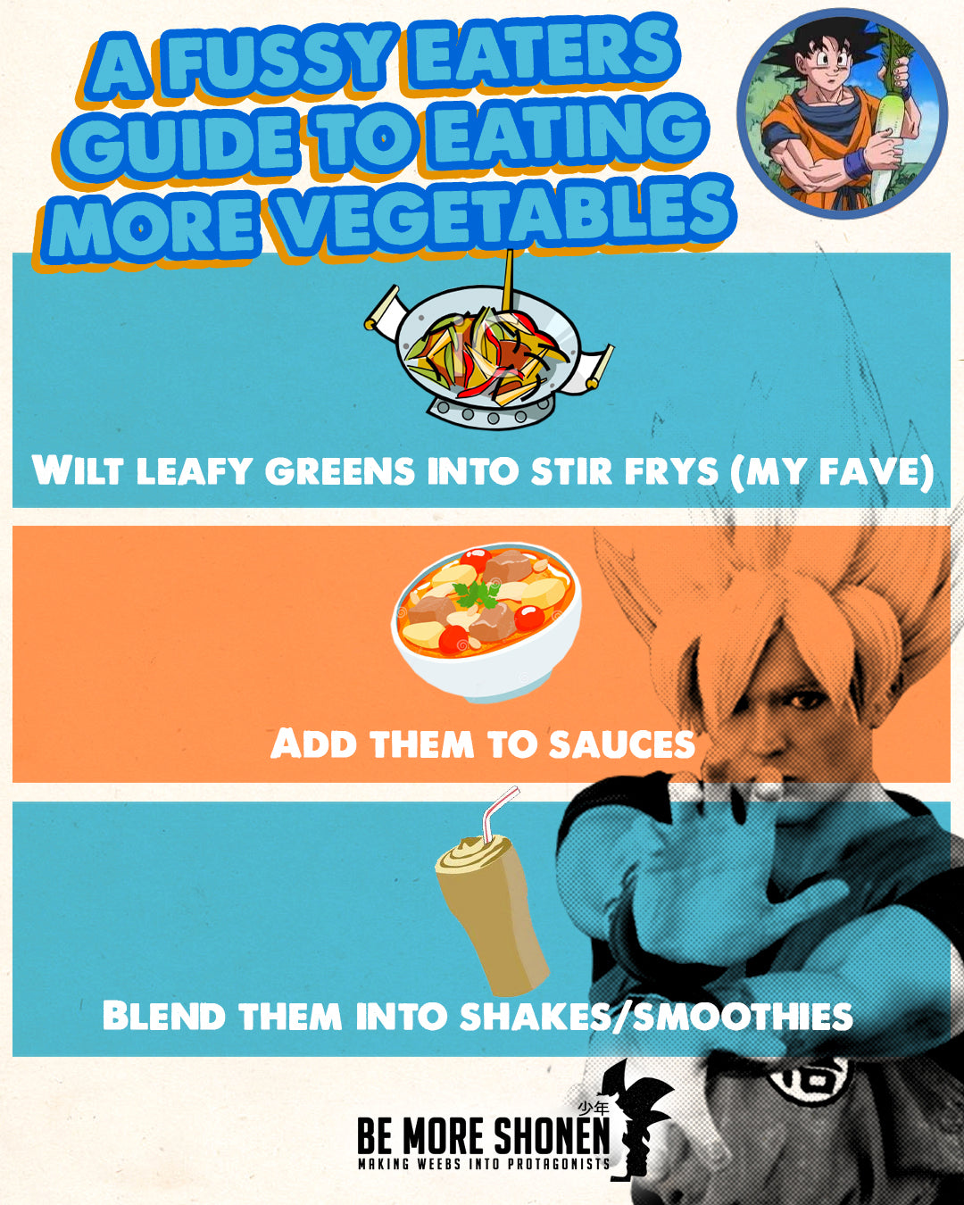 How to eat vegetables if you're a fussy eater. Anime inspired guide for weebs who want to get healthy