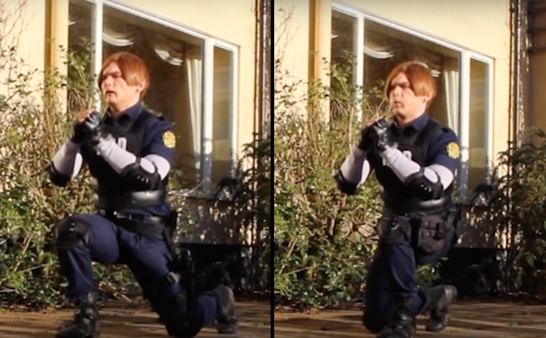 Leon S. Kennedy Resident Evil 2 Remake cosplay teaching the jumping lunge for a raccoon city fitness workout