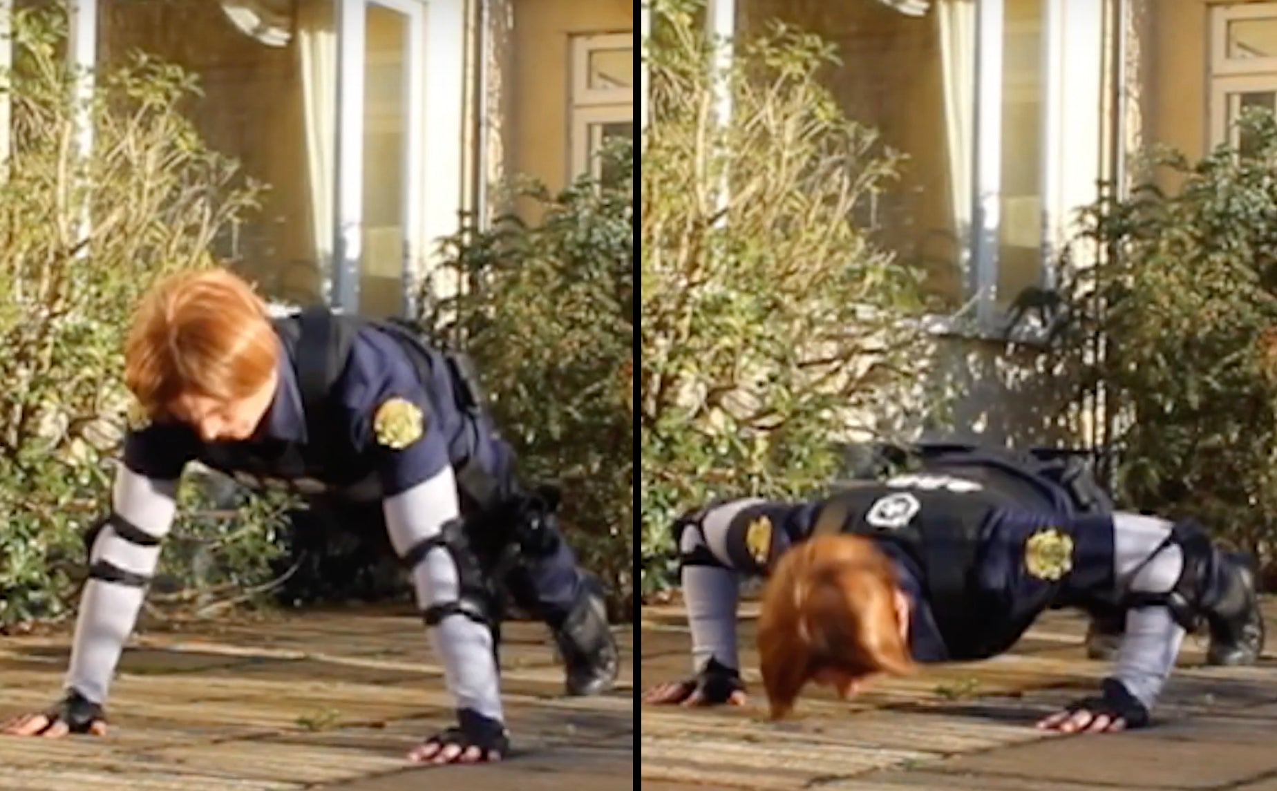 Leon S. Kennedy Resident Evil 2 Remake cosplay teaching the push up for a raccoon city fitness workout