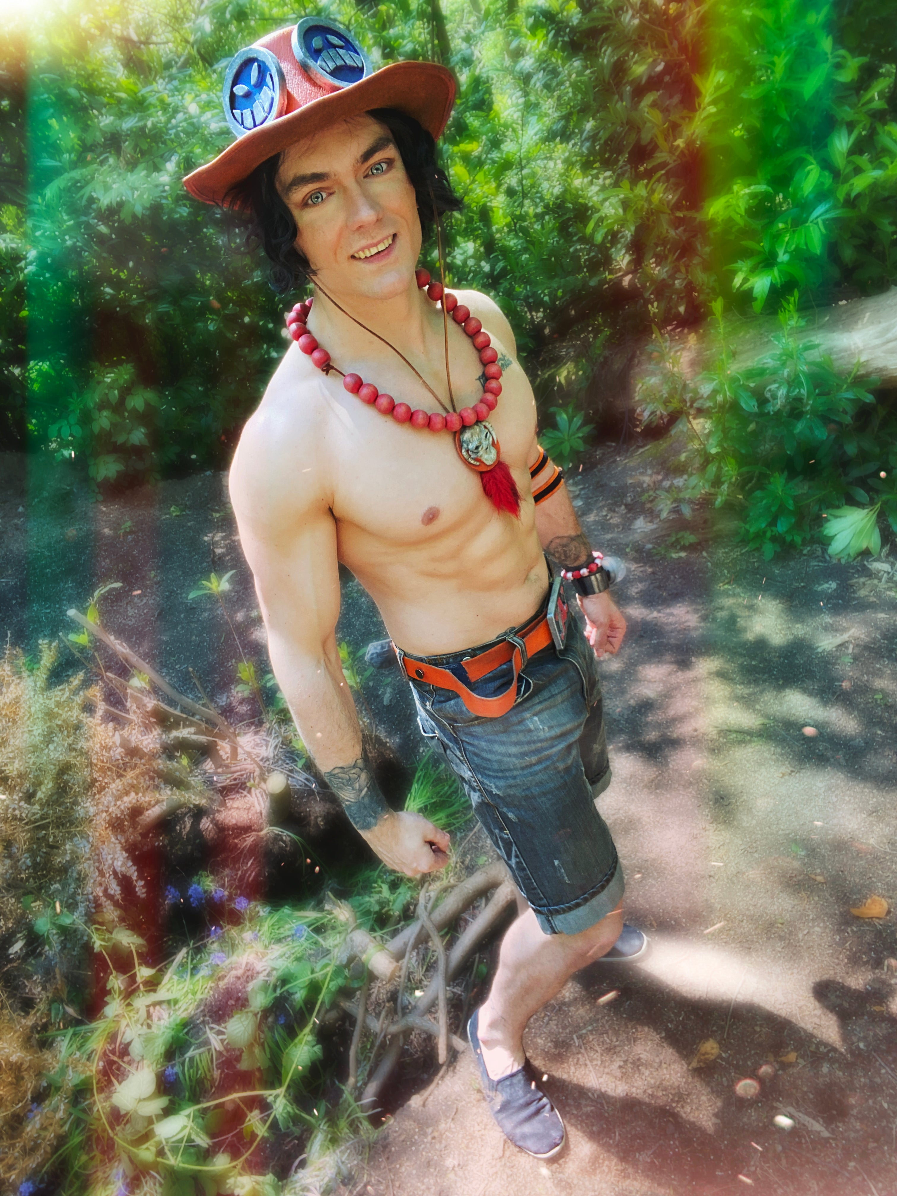 Portgas D. Ace Cosplay From the One Piece Anime - Ripped Firefist Ace Cosplay