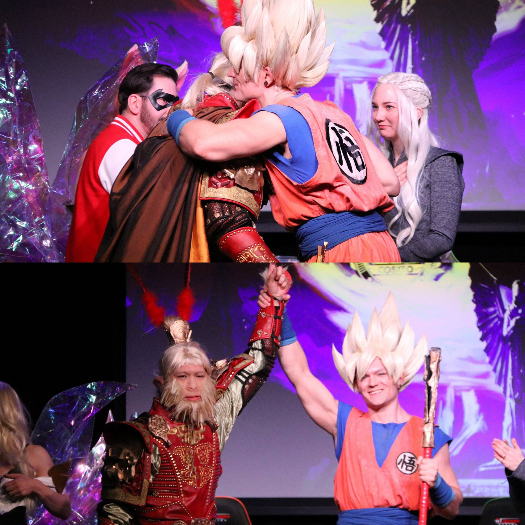 Sun Wukong hugs Son Goku - cosplays from journey to the west and Dragonball