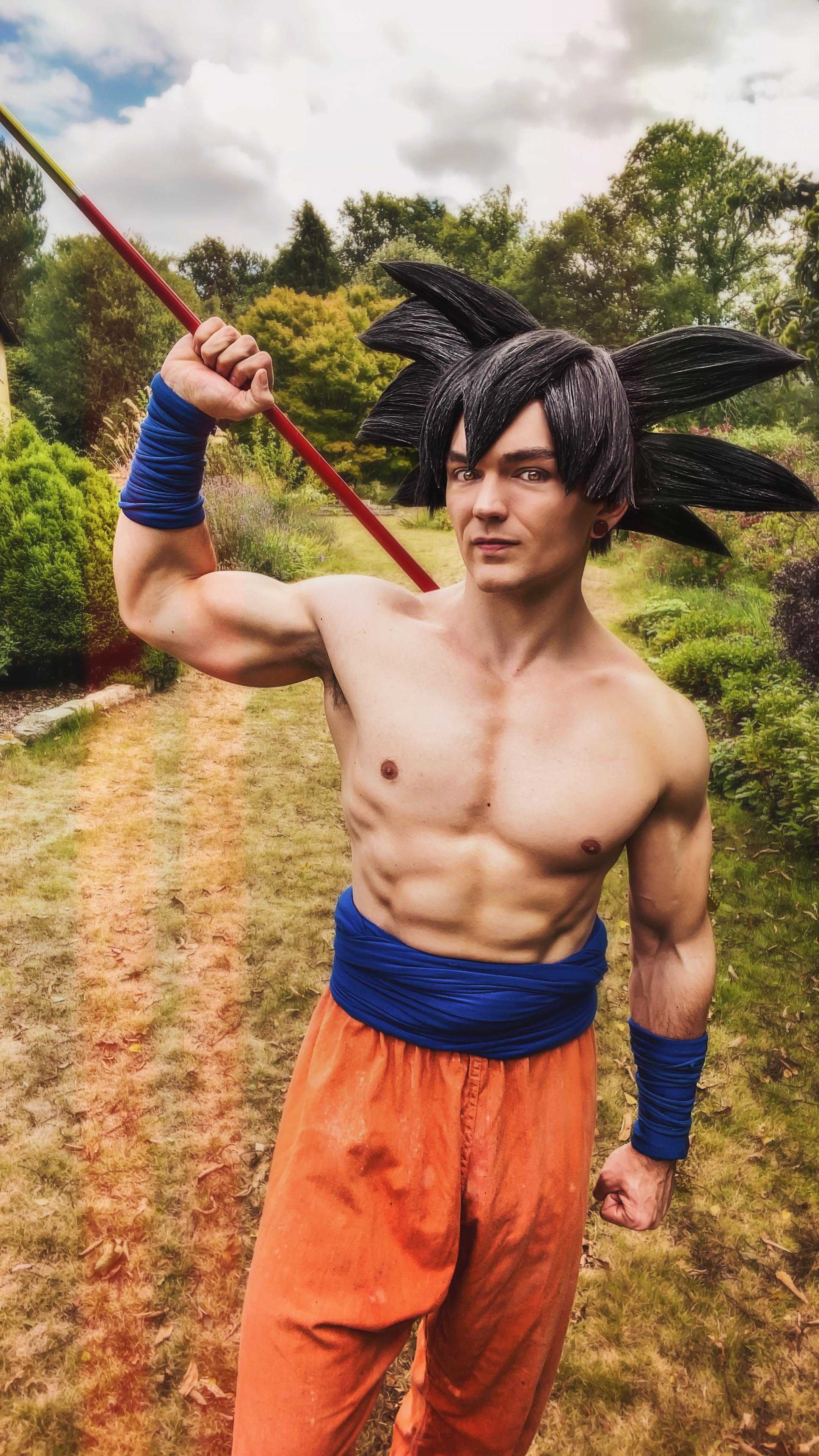 Topless Goku cosplay from Dragon Ball Z