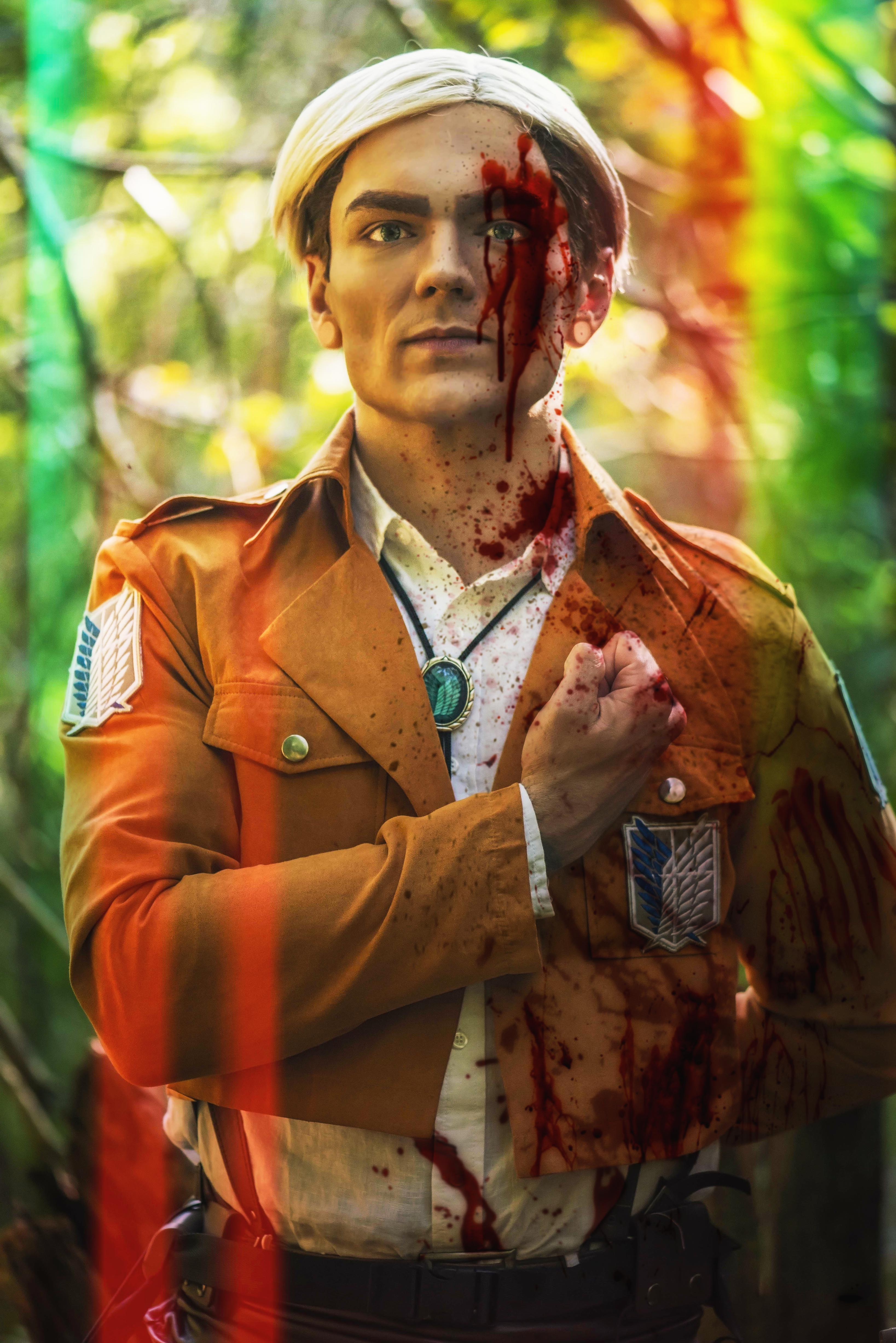 Bloody Erwin Smith cosplay from Attack On Titan