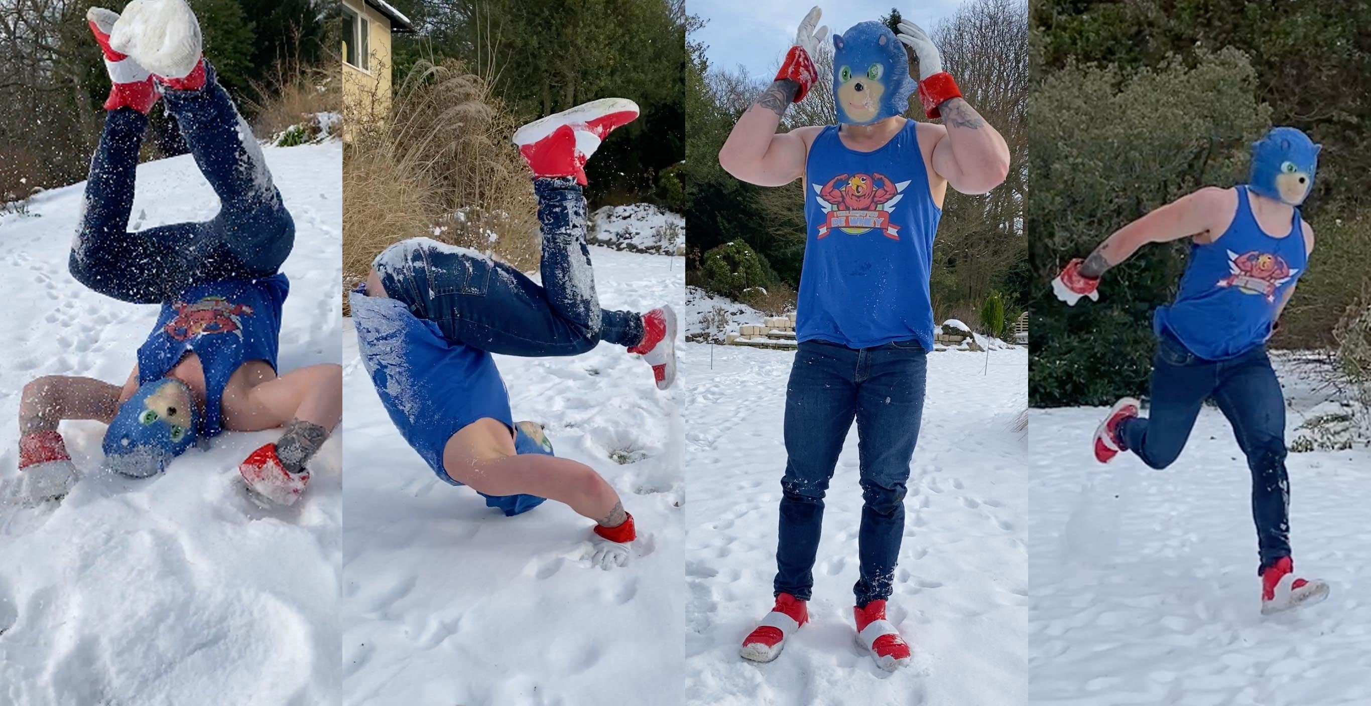 Creepy movie sonic cosplay wearing the puma shoes from the movie (or a close fit)