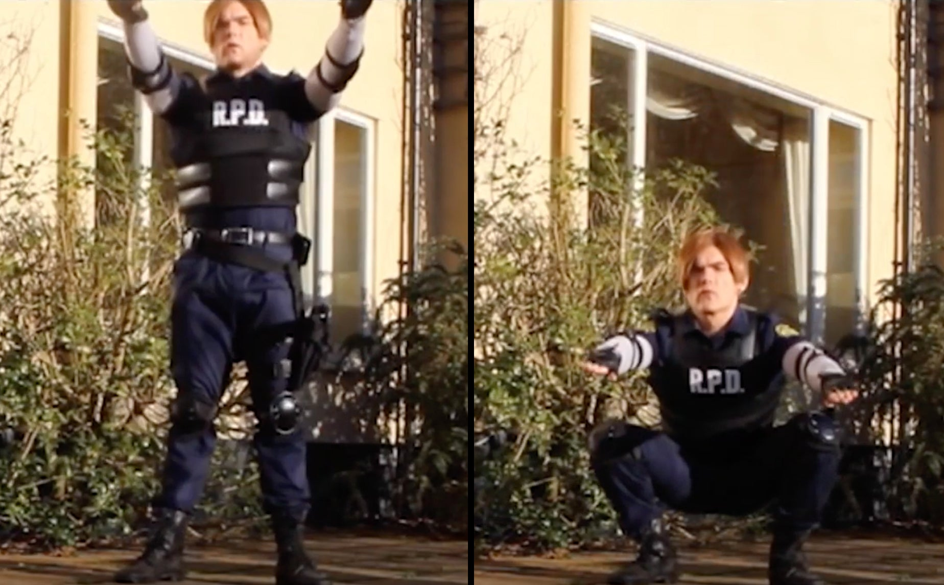 Leon S. Kennedy Resident Evil 2 Remake cosplay teaching the bodyweight squat for a raccoon city fitness workout