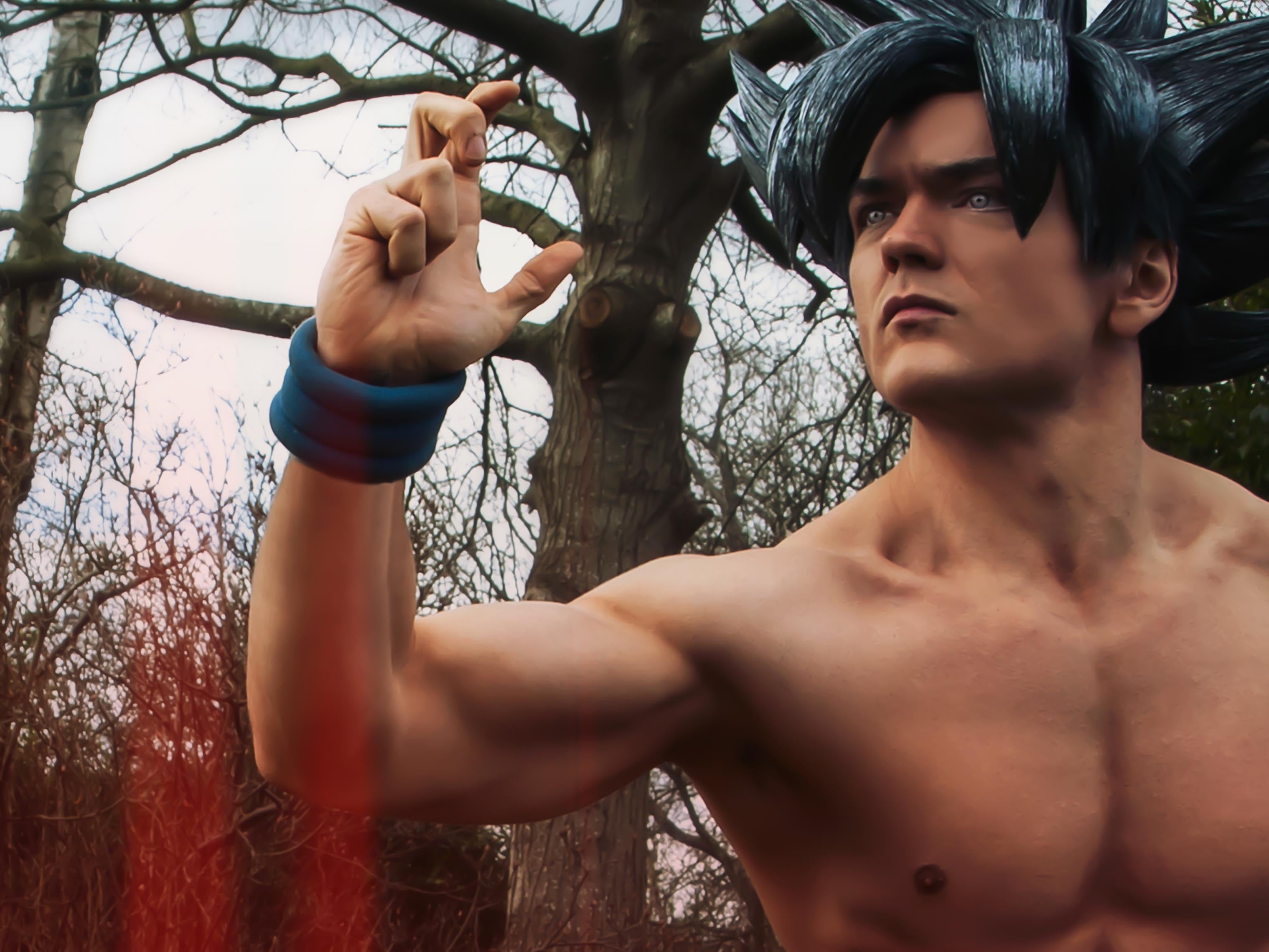 Goku cosplay from DragonBall Z in a fighting pose
