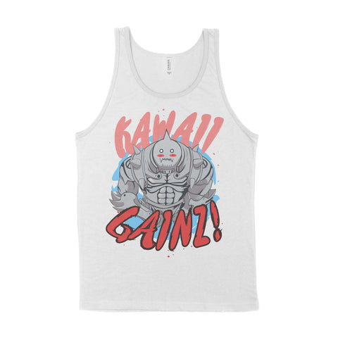 Kawaii Gainz Cute Al Alphonse Elric Face FullMetal Alchemist FMA Gym Workout Tee Tank Top Stringer Vest Fitness T-Shirt Shirt Bodybuilding Otaku Geek Nerd Anime Manga Powerlifting