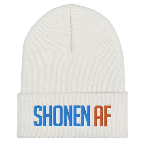 SHONEN AF - Anime Gym Beanie / Otaku Weeb Fitness Workout Hat (White/Grey)