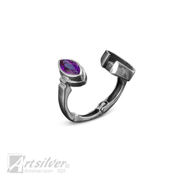 Marqise Faceted Amethyst Expandable Ring
