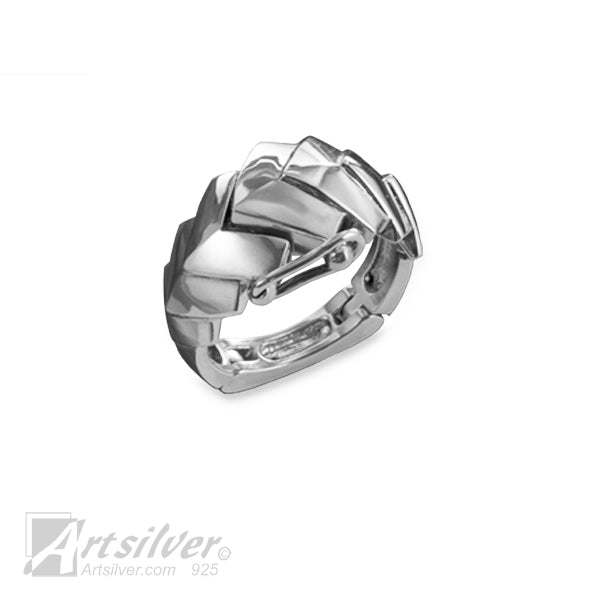 Silver Chevron Magnetic Rings