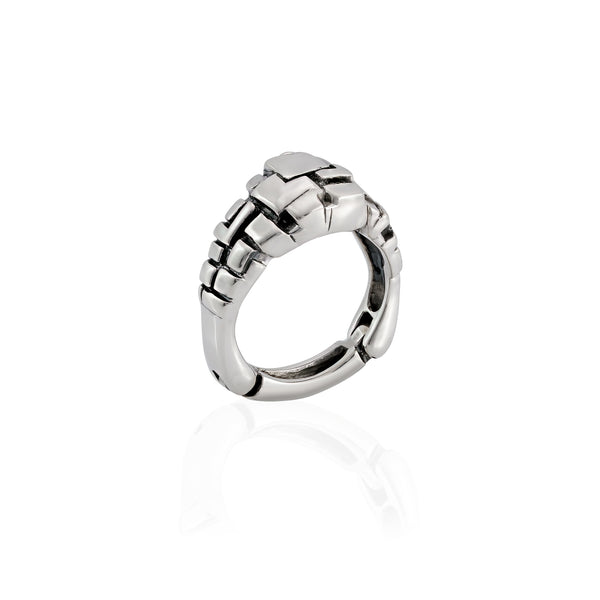Rectangular Cube Texture Ring