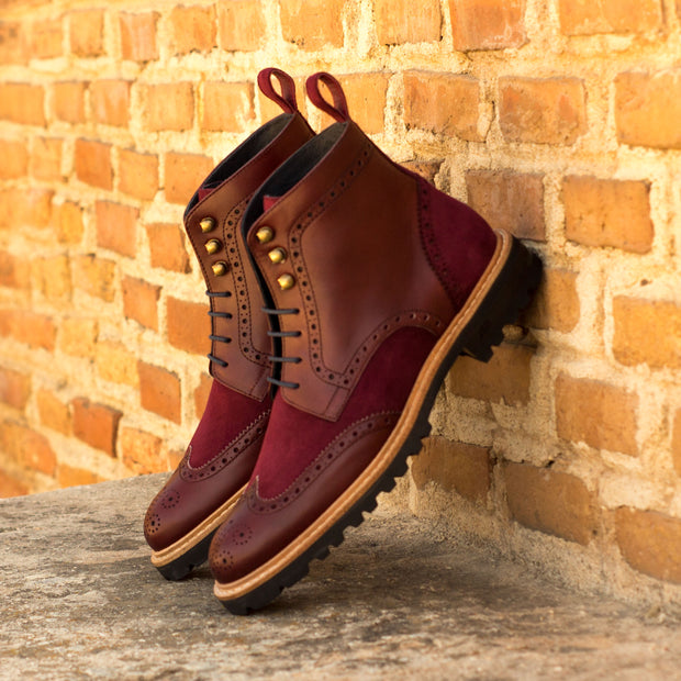 Ladies' Military Brogue-Kid Suede, Painted Calf, Box Calf, Burgundy 1-MERRIMIUM--GID-2366-3573