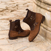 Octavian Buckle Boot-Suede, Box Calf, Brown, Dark Brown 5
